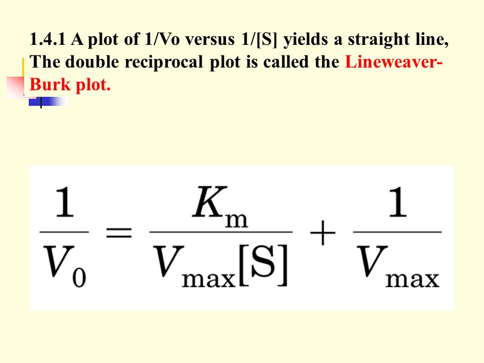 1.4.1 A plot of 1/Vo versus 1/[S] yields a straight line, The double reciprocal plot is called the Lineweaver-Burk plot.